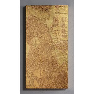 'Tinted Map of Boston' Graphic Art on Canvas by Empire Art Direct