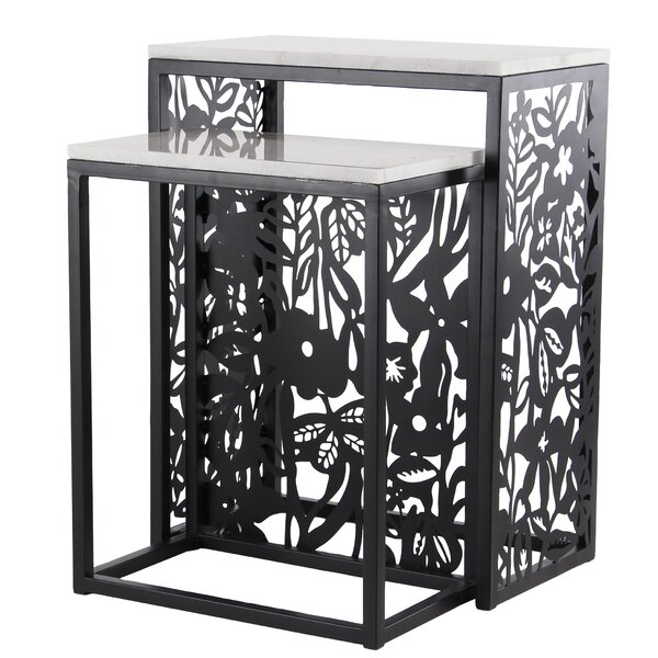 Ginn Eclectic Rectangular 2 Piece Nesting Tables Set by Bungalow Rose