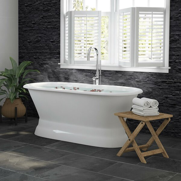 Double Ended Pedestal Modern 60 x 30 Freestanding Soaking Bathtub by Cambridge Plumbing