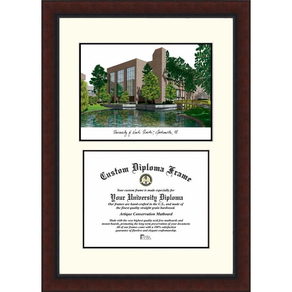 NCAA University of North Florida Legacy Scholar Diploma Picture Framed by Campus Images