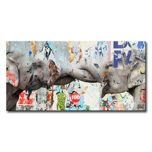 'Saddle Ink Elephant VI' Graphic Art on Canvas by Ebern Designs