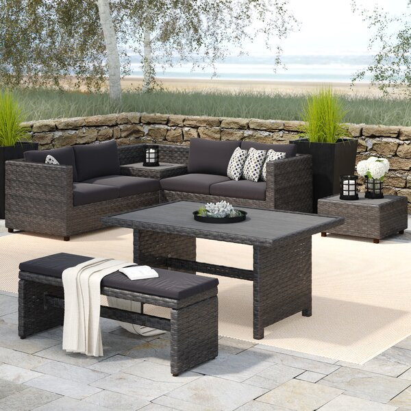 Delicia 5 Piece Sectional Seating Group with Cushions by Beachcrest Home
