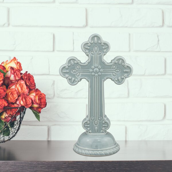 Coulson Ceramic Cross Sculpture by Fleur De Lis Living