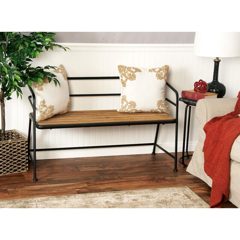 Relatively Laurel Foundry Modern Farmhouse Idell Metal and Wood Bench  FL71