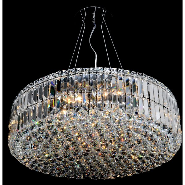 Willowridge 18 - Light Unique / Statement Drum Chandelier with Crystal Accents by House of Hampton House of Hampton