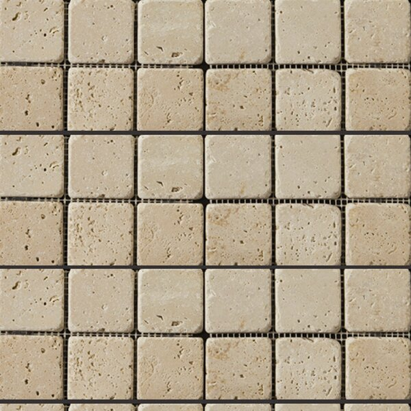 Travertine 2 x 2/12 x 12 Mosaic Tile in Ivory by Emser Tile