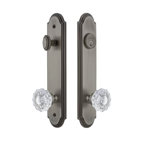 Arc Tall Plate Single Cylinder One Piece Knobset with Versailles Knob by Grandeur