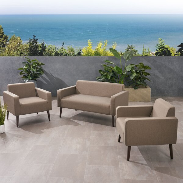 Lembo Outdoor 3 Piece Sofa Seating Group with Cushions by Ivy Bronx