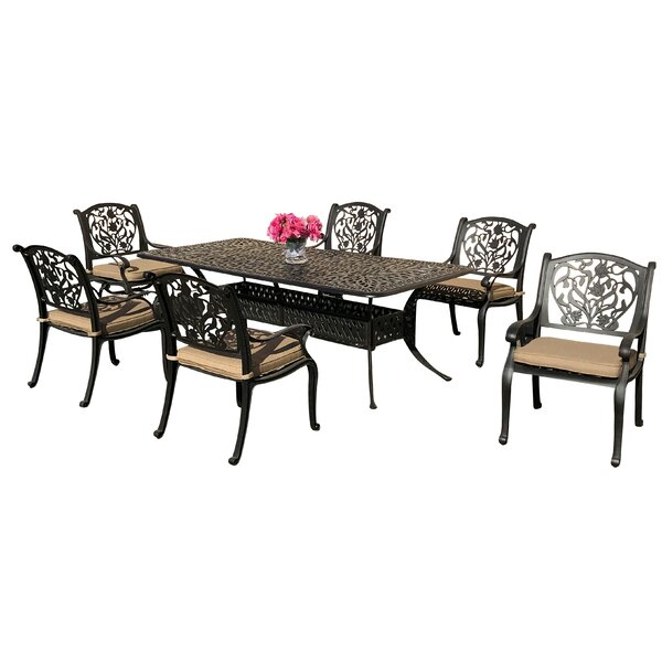 Camptown 7 Piece Sunbrella Dining Set with Sunbrella Cushions by Fleur De Lis Living