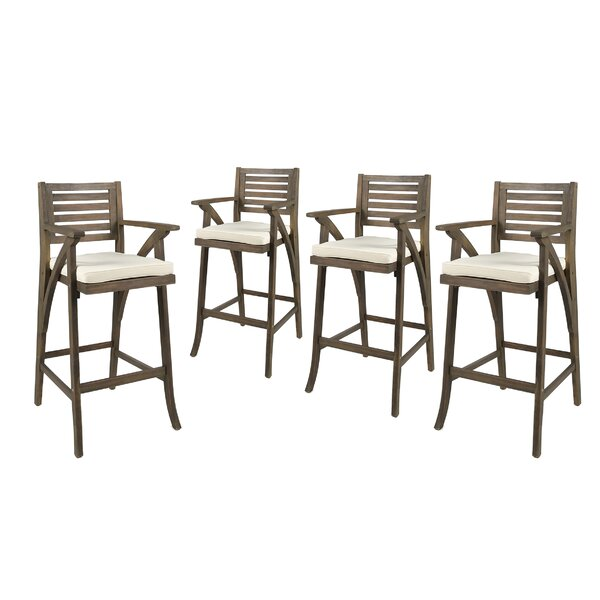 Garrido 30 Patio Bar Stool with Cushion (Set of 4) by Gracie Oaks
