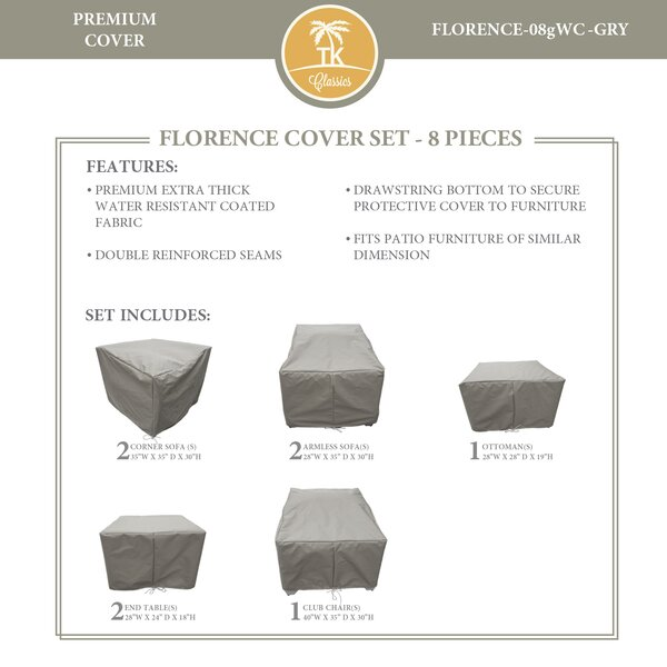 Forence 8 Piece Water Resistant Patio Furniture Cover Set by TK Classics