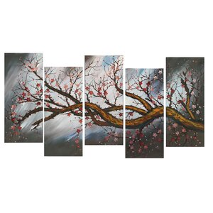 Brown Blossoming Beauty 5 Piece Painting Print on Wrapped Canvas Set by Design Art