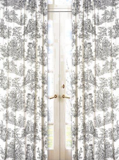 French Toile Semi-Sheer Rod Pocket Single Curtain Panel (Set of 2) by Sweet Jojo Designs