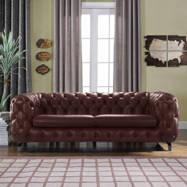 Yuliya Leather Chesterfield Sofa by 17 Stories