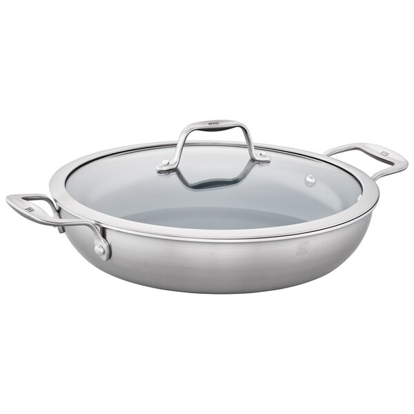 Spirit 4 qt. 3-Ply Stainless Steel Ceramic Nonstick Saute Pan with Lid by Zwilling JA Henckels