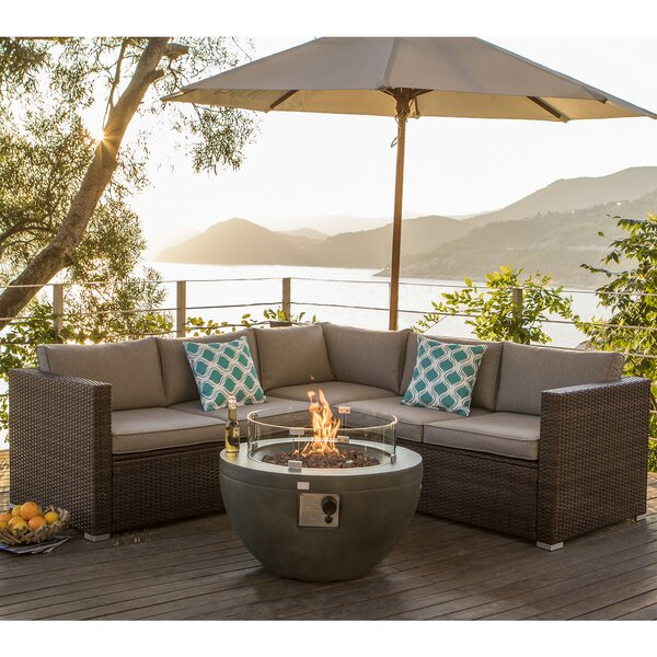 Jezebel Propane 7 Piece Rattan Sectional Seating Group with Cushions by Longshore Tides Longshore Tides