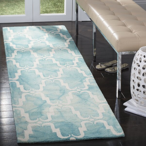 Hand-Tufted Dip Dye Turquoise/Ivory Area Rug by Bungalow Rose