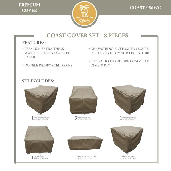 Coast Protective 8 Piece Water Resistant Patio Furniture Cover Set by TK Classics
