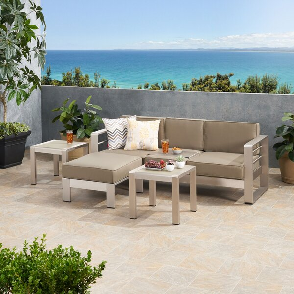 Eaker Outdoor 4 Piece Sectional Seating Group with Cushions by Orren Ellis
