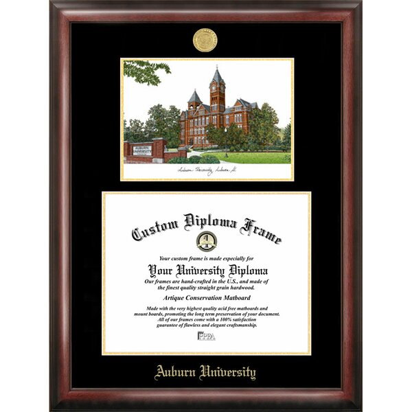 NCAA Auburn University Gold Embossed Diploma with Campus Images Lithograph Picture Frame by Campus Images