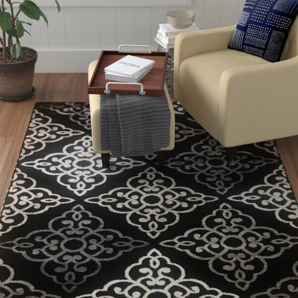 Ontonagon Trellis Blue/Black Area Rug by Winston Porter