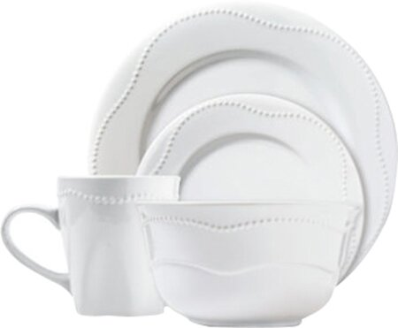 Dotrielle Blanc 16 Piece Dinnerware Set, Service for 4 by Cooking Essentials