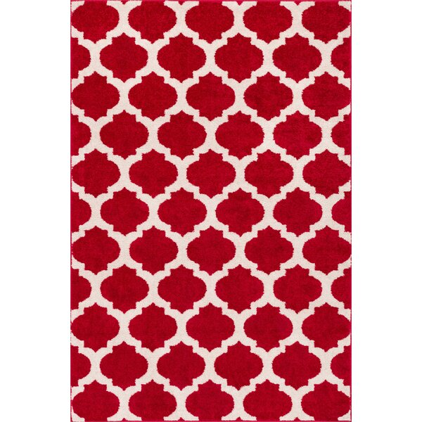 Broxton Modern Trellis Red Area Rug by Wrought Studio