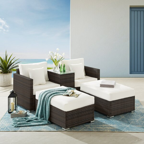 All Weather 5 piece Rattan Sofa Seating Group with Cushions