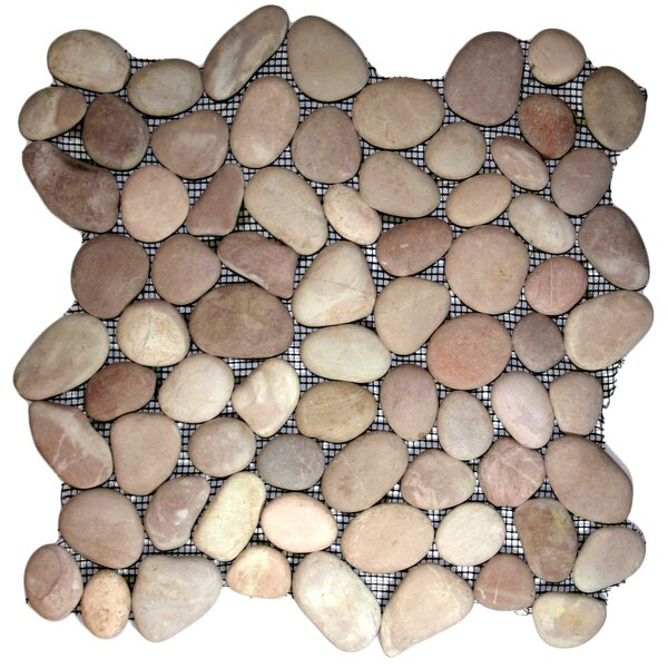 Shire Random Sized Natural Stone Mosaic Tile in Berry by CNK Tile