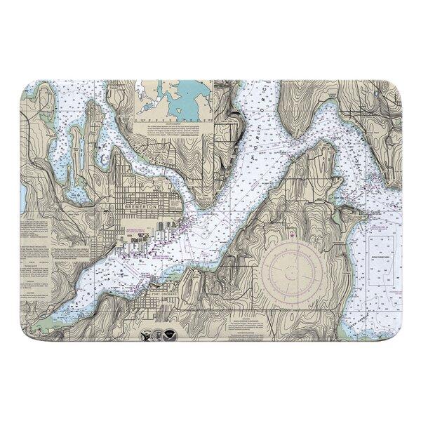 Nautical Chart Bremerton WA Rectangle Memory Foam Non-Slip Bath Rug