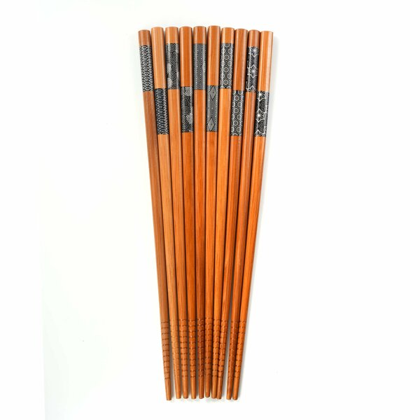 Wellsboro 10 Piece Handcrafted Wood Chinese Chopstick Set by Bloomsbury Market