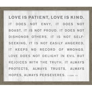 Homespun Faith 'Love is Patient' Framed Texual Art on Canvas by Carpentree