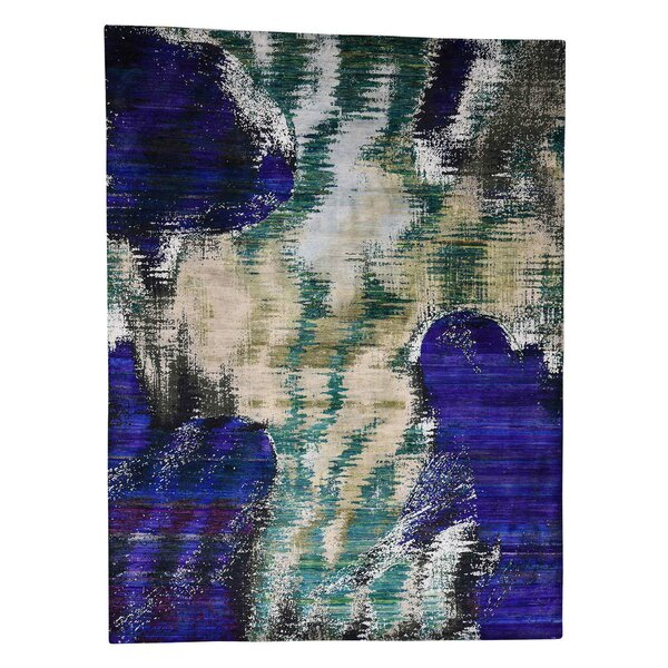 One-of-a-Kind Naugle Abstract Oriental Hand-Knotted Silk Purple Area Rug by Williston Forge