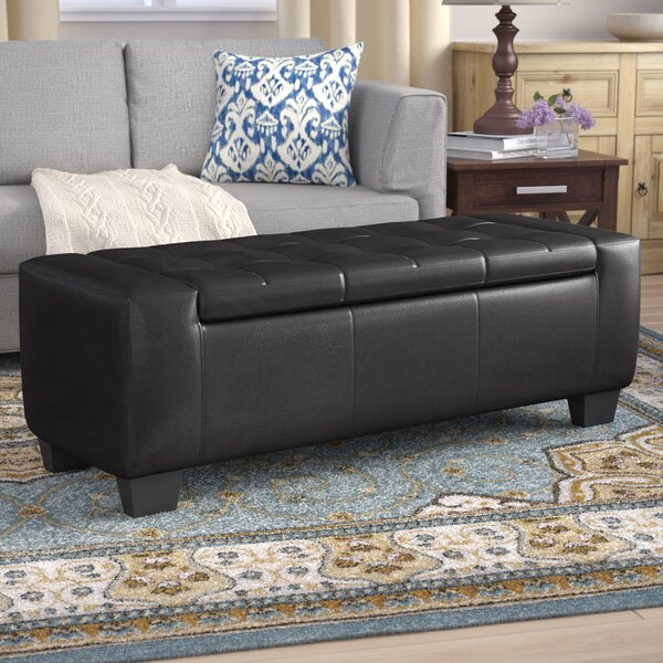 Pellegrin Leather Tufted Storage Ottoman by Andover Mills