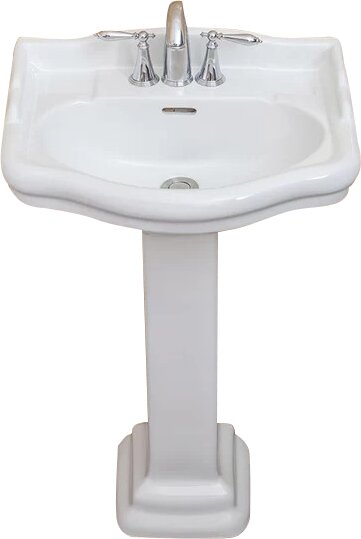 Roosevelt Vitreous China 22 Pedestal Bathroom Sink with Overflow by Fine Fixtures