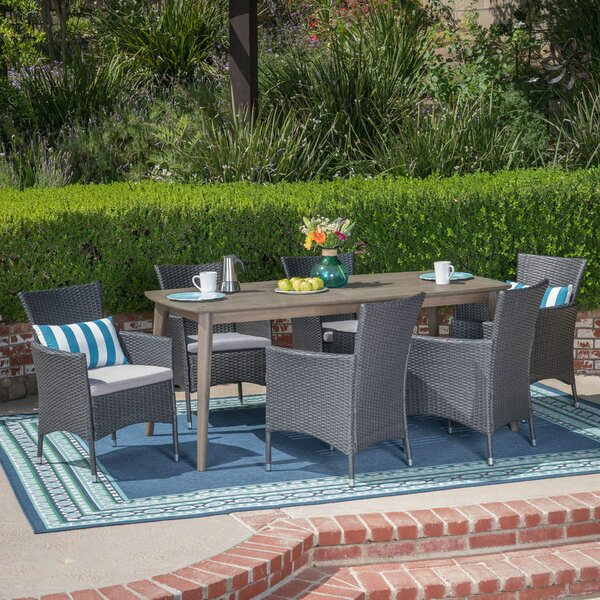 Hennings 7 Piece Dining Set with Cushions by August Grove