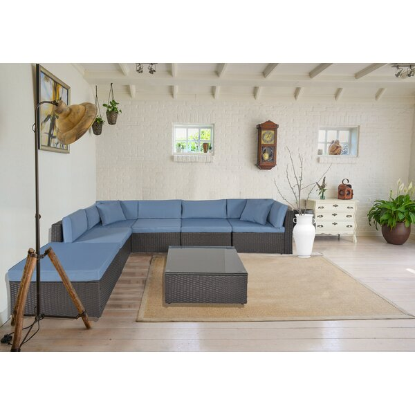 7 Piece Rattan Sectional Seating Group with Cushions by Ebern Designs