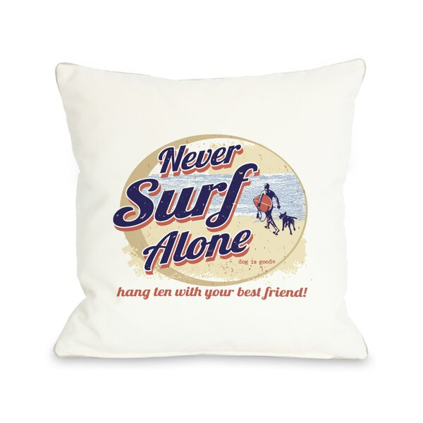 Doggy Décor Never Surf Alone Round Throw Pillow by One Bella Casa