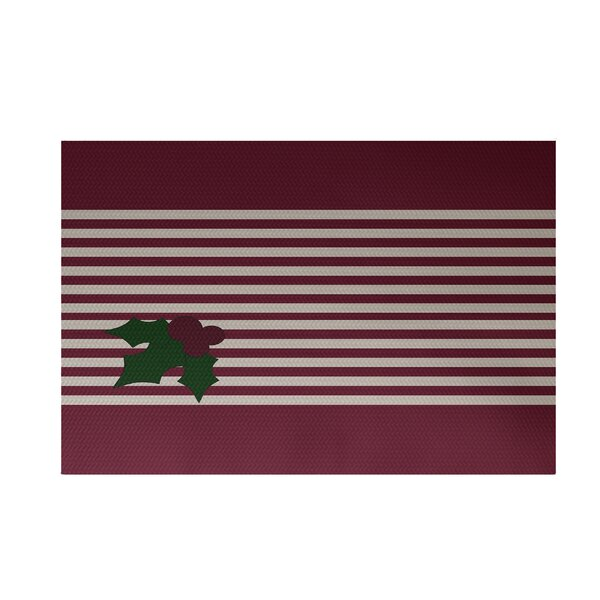 Holly Stripe Decorative Holiday Stripe Print Indoor/Outdoor Rug Cranberry Burgundy Indoor/Outdoor Area Rug by The Holiday Aisle
