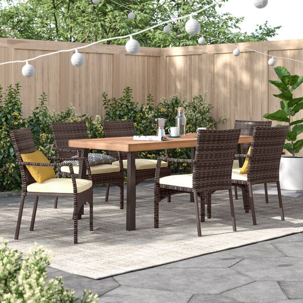 Kissena 7 Piece Dining Set with Cushions by Zipcode Design