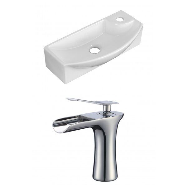 Ceramic 9 Wall Mount Bathroom Sink with Faucet by Royal Purple Bath Kitchen
