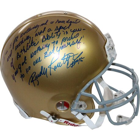 Decorative Rudy Ruettiger Signed Notre Dame Authentic Helmet by Steiner Sports