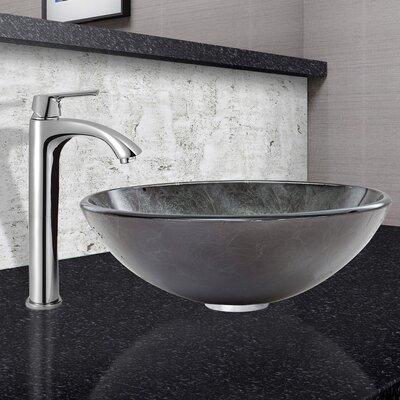 Gray Onyx Gl Circular Vessel Bathroom Sink With Faucet