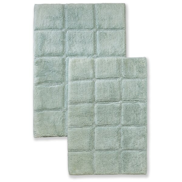 Cotton Checkers 2 Piece Bath Rug Set by Simple Luxury