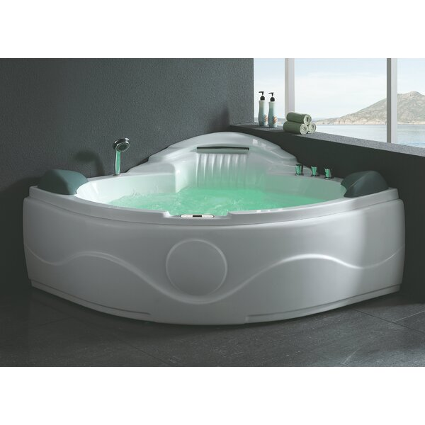 Waterfall 60.63 x 60.63 Corner Whirlpool Bathtub by EAGO