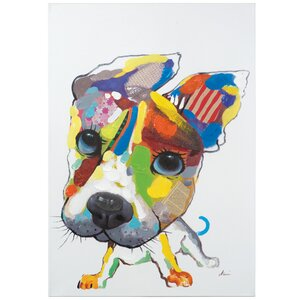 Revealed Artwork Playful Pooch Painting Wrapped Canvas by Yosemite Home Decor