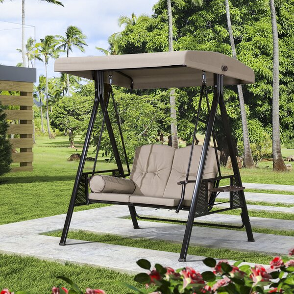 Musa 2 Seat Outdoor Porch Swing With Stand By Red Barrel Studio by Red Barrel Studio Best
