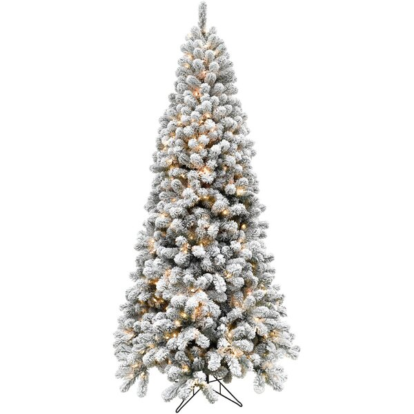 Flocked Alaskan Green/Snow Pine Trees Artificial Christmas Tree with 550 with White Smart String Lights by The Holiday Aisle
