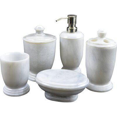 atlantic marble 5piece bathroom accessory set