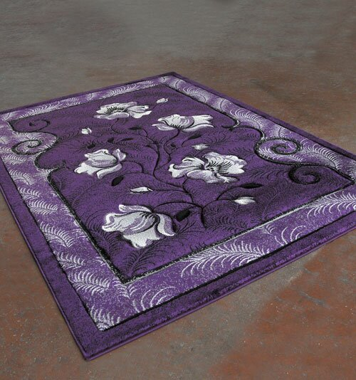 Purple/Black Area Rug by Rug Tycoon
